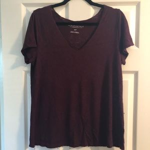 Burgundy soft frayed t shirt